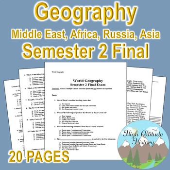 Geography Semester Final Exam (Russia, Africa, and Asia)