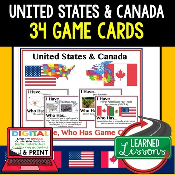 Geography United States and Canada 42 I Have Who Has Game Cards