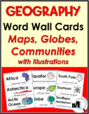 Geography Social Studies Word Wall Cards (Maps, Globes, an