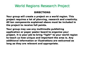 Geography World Regions Research Project