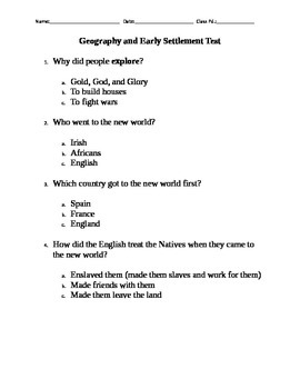 Geography and Early Settlement Test