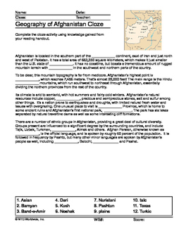 Geography of Afghanistan Map and Worksheet Package with An