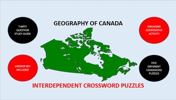 Geography of Canada: Interdependent Crossword Puzzles Activity