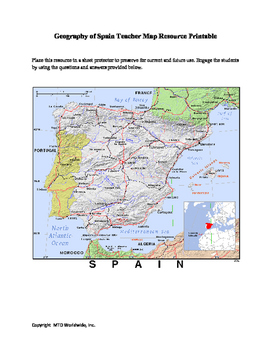 Geography of Spain Map and Worksheet Package with Answer Keys