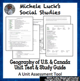 Geography of U.S. and Canada Unit Test and Study Guide