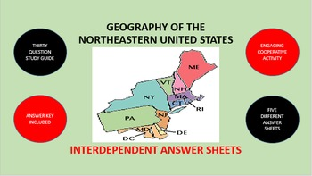 Geography of the Northeastern United States: Answer Sheets