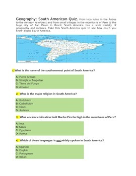 Geography south American Quiz for 4th rade