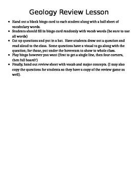 Geology Unit Review Bingo