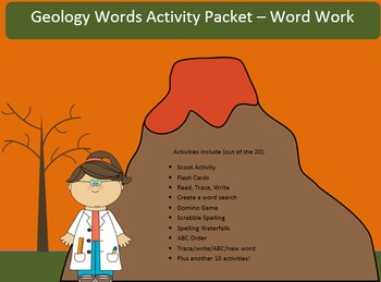 Geology Word Work Packet – 20 words no prep spelling packe