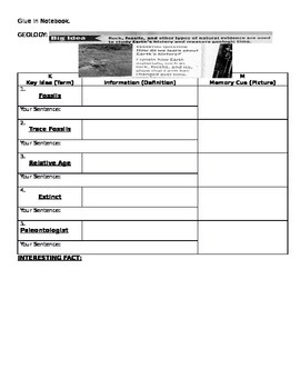 Geology fossils Vocabulary Organizer