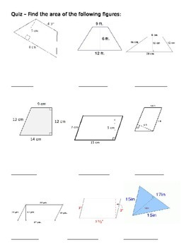 Area of Triangles, Trapezoids, and Parallelograms Quiz