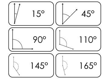 Geometric Angles printable Flash Cards. Preschool Geometry