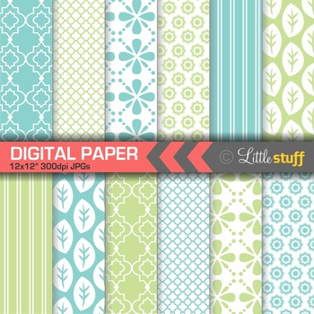 Geometric Digital Paper, Blue and Green Digital Backgrounds