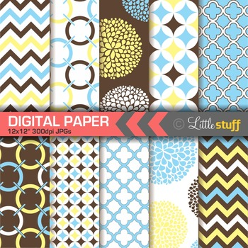 Geometric Digital Paper Pack, Blue Brown Yellow