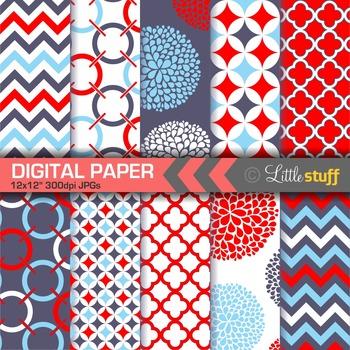 Geometric Digital Paper Pack, Red Navy Blue