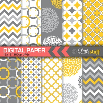 Geometric Digital Paper Pack, Yellow and Gray