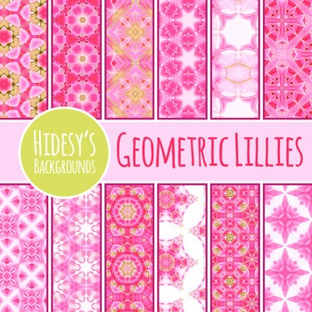 Geometric Floral Themed Digital Papers / Backgrounds Clip