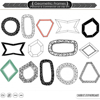 Geometric Frames and Labels, PNG ClipArt Borders + Photosh