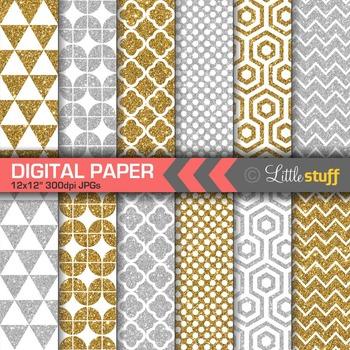 Geometric Glitter Digital Papers, Gold & Silver Digital Ba
