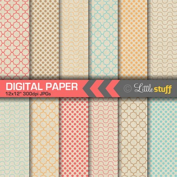 Geometric Patterns on Natural Kraft Background Digital Pap
