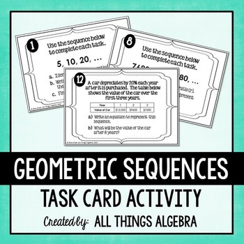 Geometric Sequences Task Cards