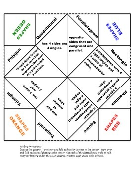 Geometry Shape Vocabulary Fortune Teller