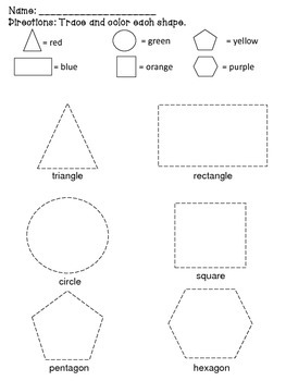 Geometric Shapes 2D (Trace and Color)