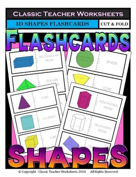 3D Shapes Flashcards - Cut & Fold - Grades 3-6 (3rd-6th Grade)