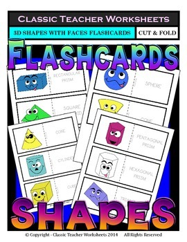 3D Shapes with Faces Flashcards - Cut & Fold - Grades 3-6