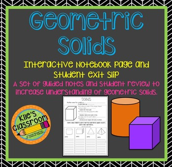 Geometric Solids Interactive Notebook Pages - Guided Notes