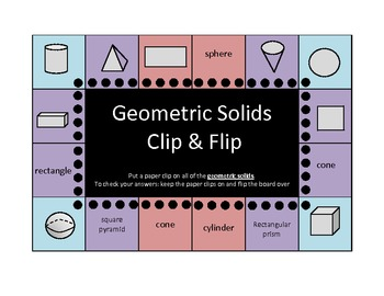 Geometric Solids and Plane Figures Clip and Flip boards (s