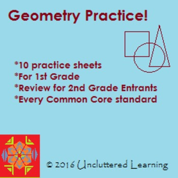 Geometry - 10 Practice Sheets for 1st Grade