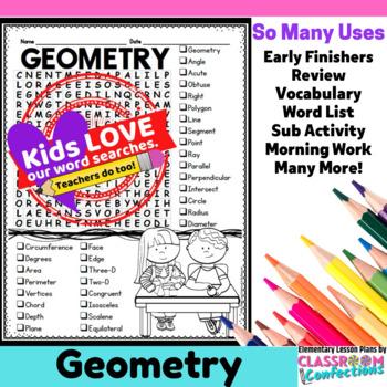 Geometry Activity: Geometry Vocabulary: Geometry Word Search