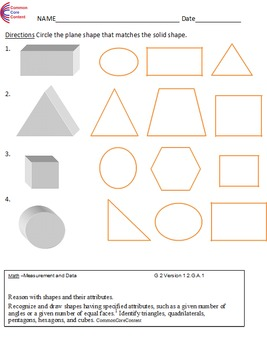 Geometry 2.G.A.1, 2.G.a.2 Second Grade Common Core Math Wo