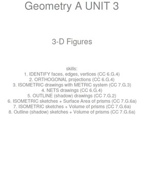 HS [Remedial] Geometry A UNIT 3: 3-D Figures (4 worksheets
