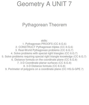 HS [Remedial] Geometry A UNIT 7: Pythagorean Theorem(5 wor
