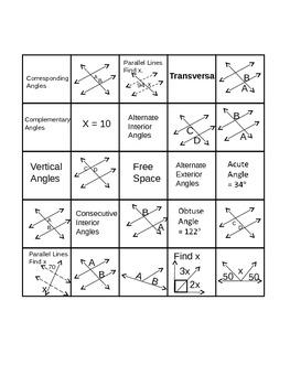 Geometry-(ANGLE RELATIONSHIPS BINGO)