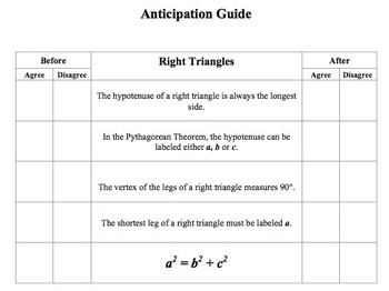 Geometry Anticipation Guides for Triangles and Similarity
