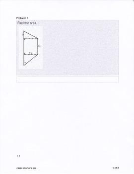 Geometry Area Class Starters