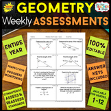 Geometry Assessments - Quizzes - ENTIRE YEAR } EDITABLE