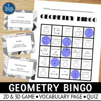 Geometry Vocabulary Bingo
