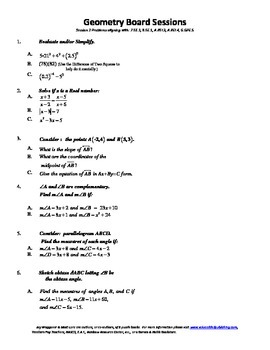 Geometry Board Session 3,SAT,ACT,slope,algebra review,angl