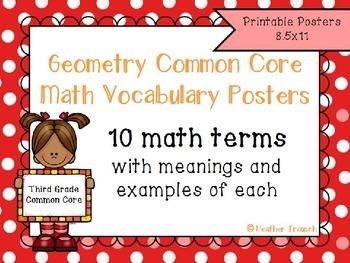 Geometry Common Core Math Vocabulary Posters- Grade 3