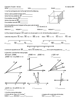 Geometry Chapter 1 Review Sheet