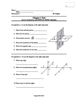 geometry chapter 1 test points lines and by mr. Black Bedroom Furniture Sets. Home Design Ideas