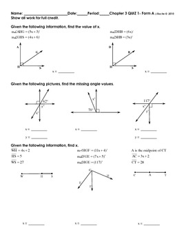 Geometry Chapter 3 Quizzes