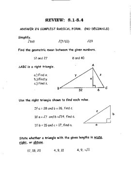 Geometry Chapter 8 Bundle: Right Triangles