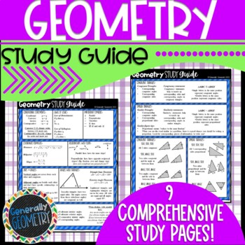 Geometry Help Sheet-Great for final exams, state assessmen