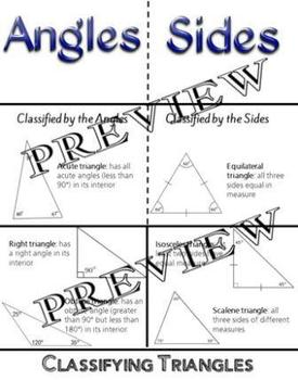Geometry Classifying Triangles by Angles Sides Foldable G-