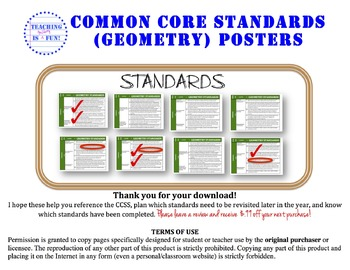 Geometry Common Core Standards Posters (California Standar
